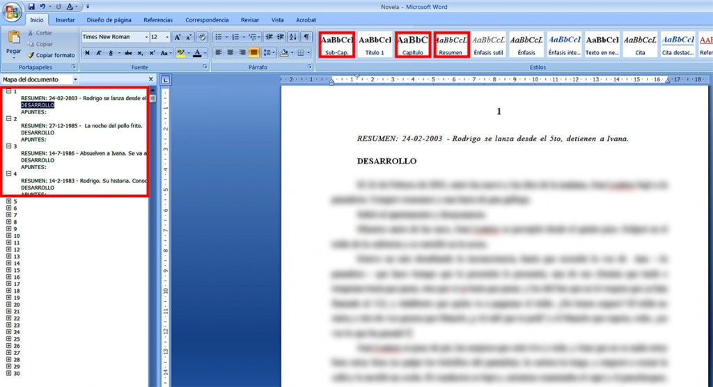 Planificar una novela en Word.